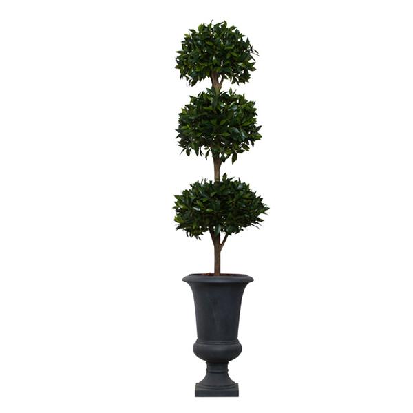 3-Ball Bay Leaf Topiary in Grey Urn