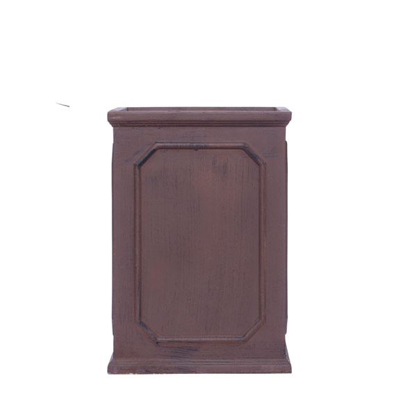 TALL BROWN SQUARE POT