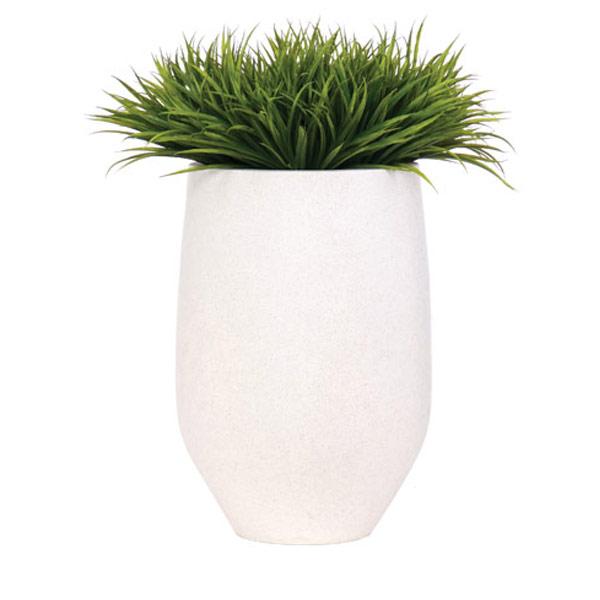 Grass in a White Terrazzo Pot