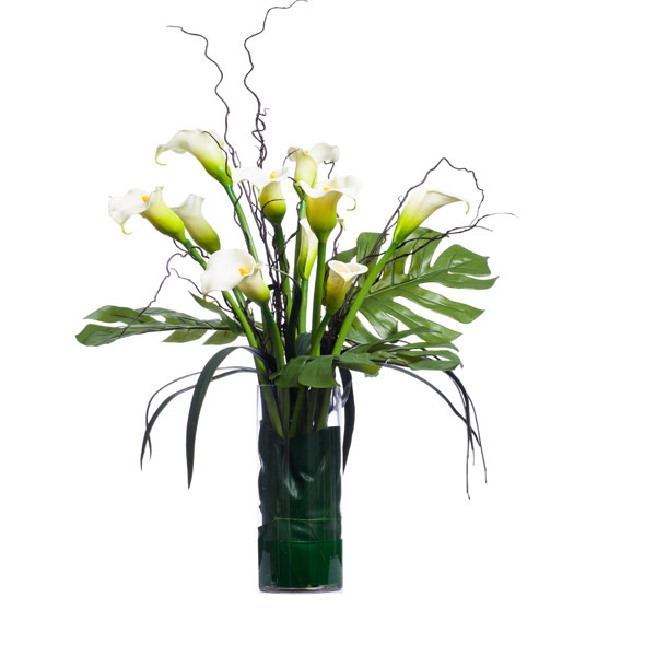 Callas & Tropical Foliage in Cylider Waterlike