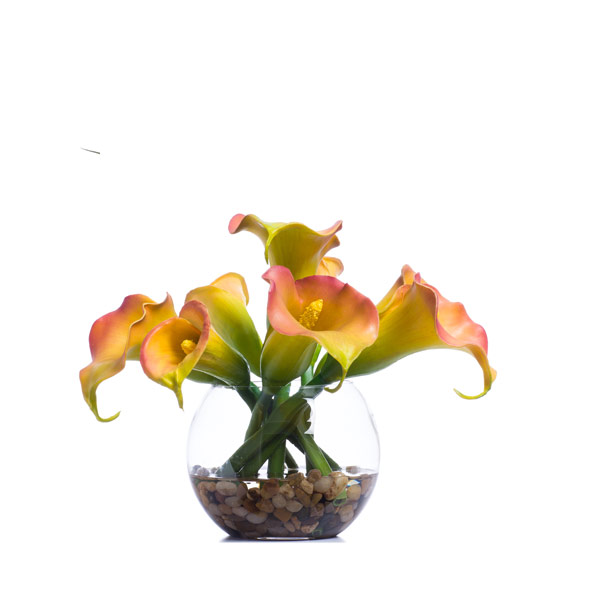 Pink Green / Rust Callas in Small Bubble