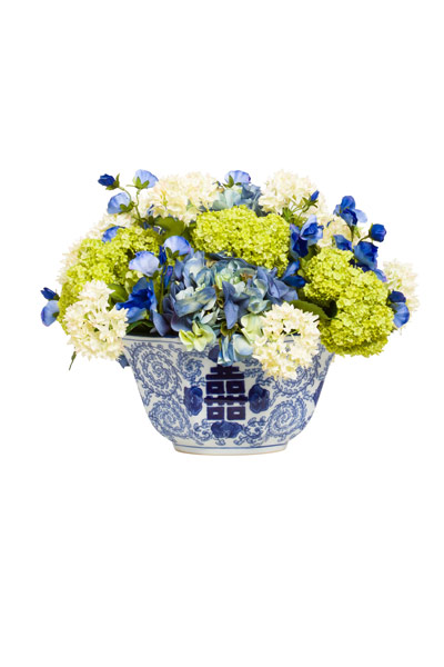 ASST HYDRANGEA IN BLUE WHITE BOWL