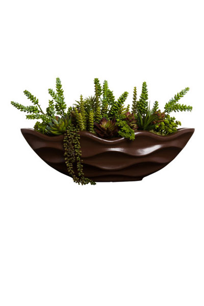 MIXED SUCCULENT IN BROWN WAVY BOAT