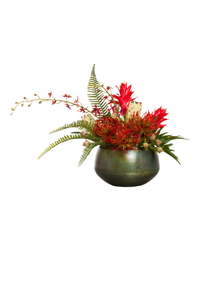 MIXED PROTEA/ORCHID IN SOSA METAL BOWL