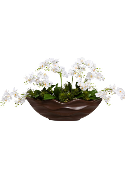 WILD ORCHIDS IN BROWN OVAL POT