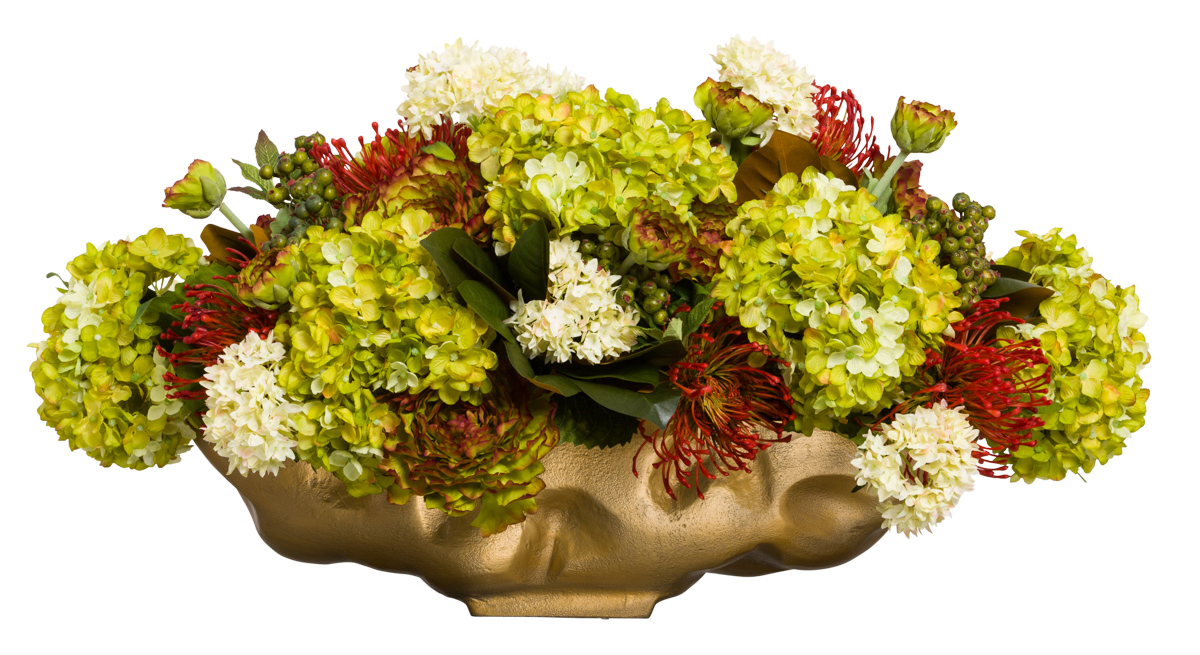 ASSORTED FLORAL IN GOLD  POT