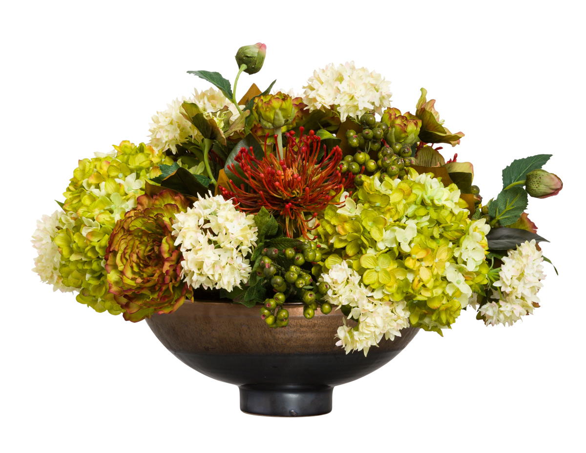 MIXED FLORAL IN BRONZE POT