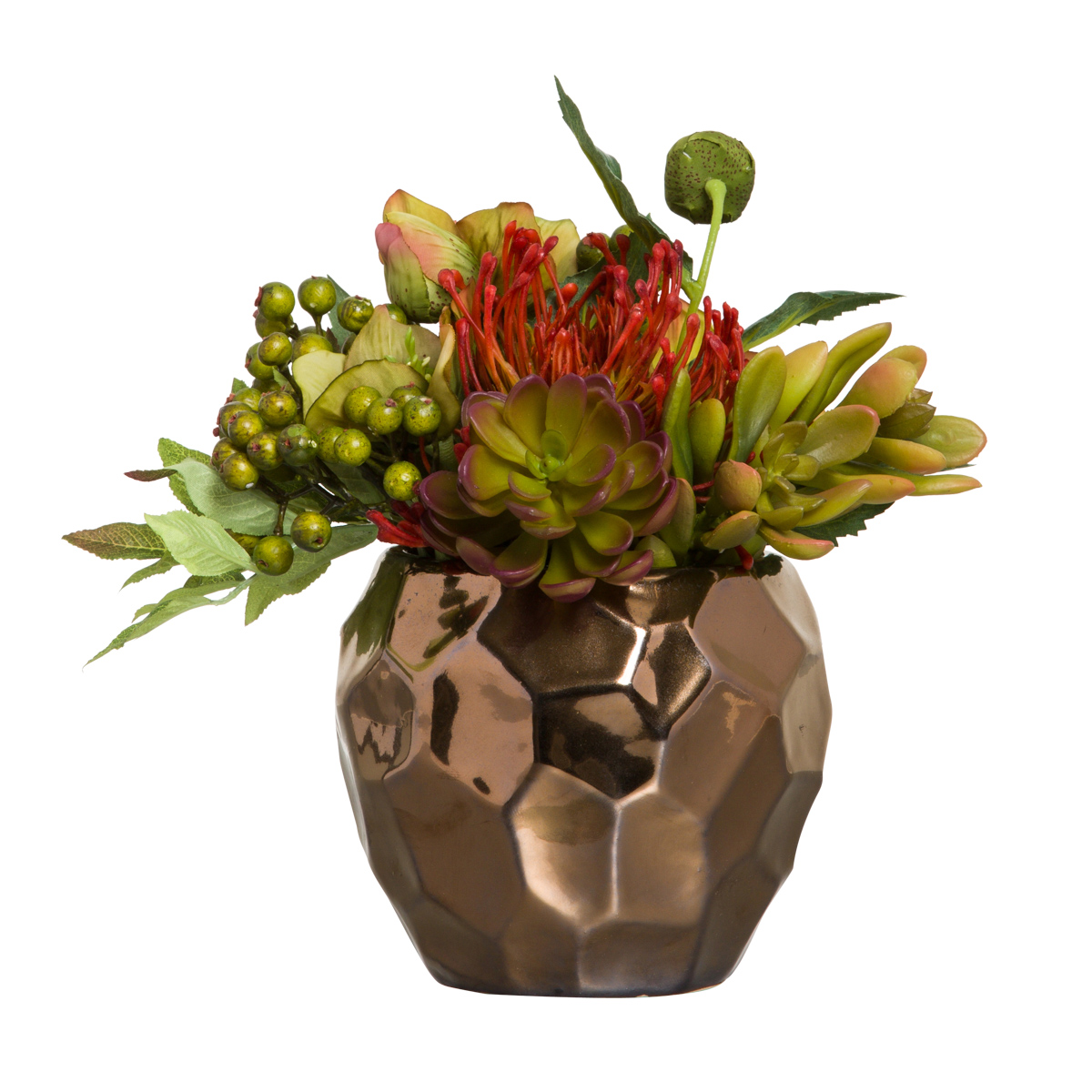 ASST PROTEA/SUCCULENT IN COPPER DRIP POT