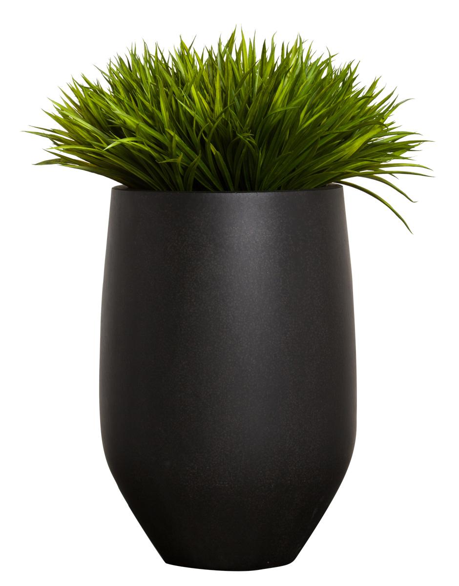 GRASS IN TALL BLACK TERRAZZO POT