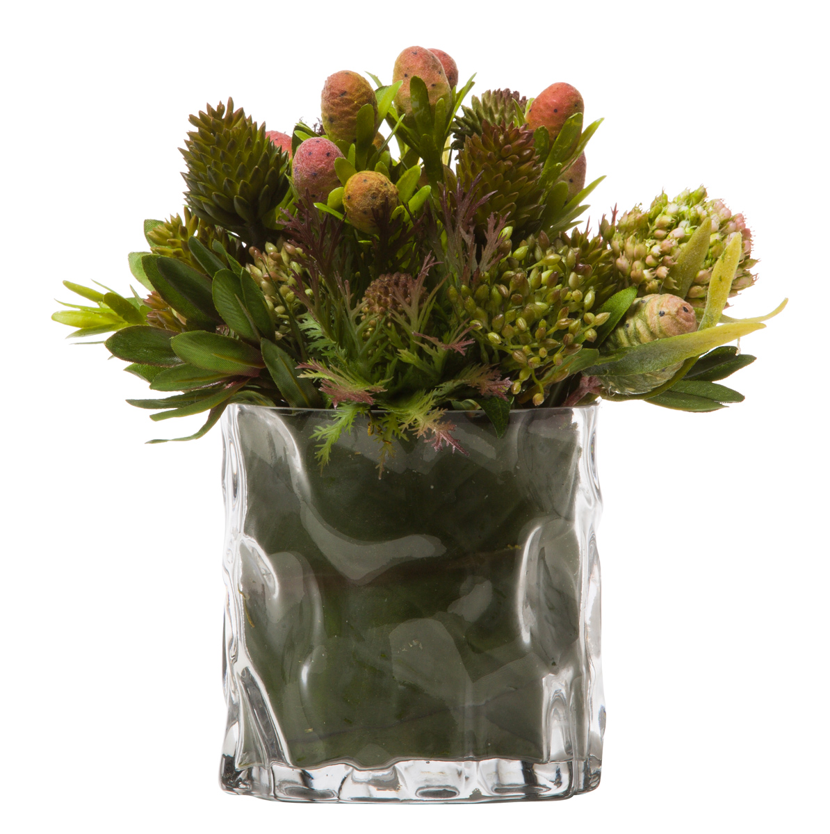 MIXED PROTEA/THISTLE IN TEXTURED GLASS POT