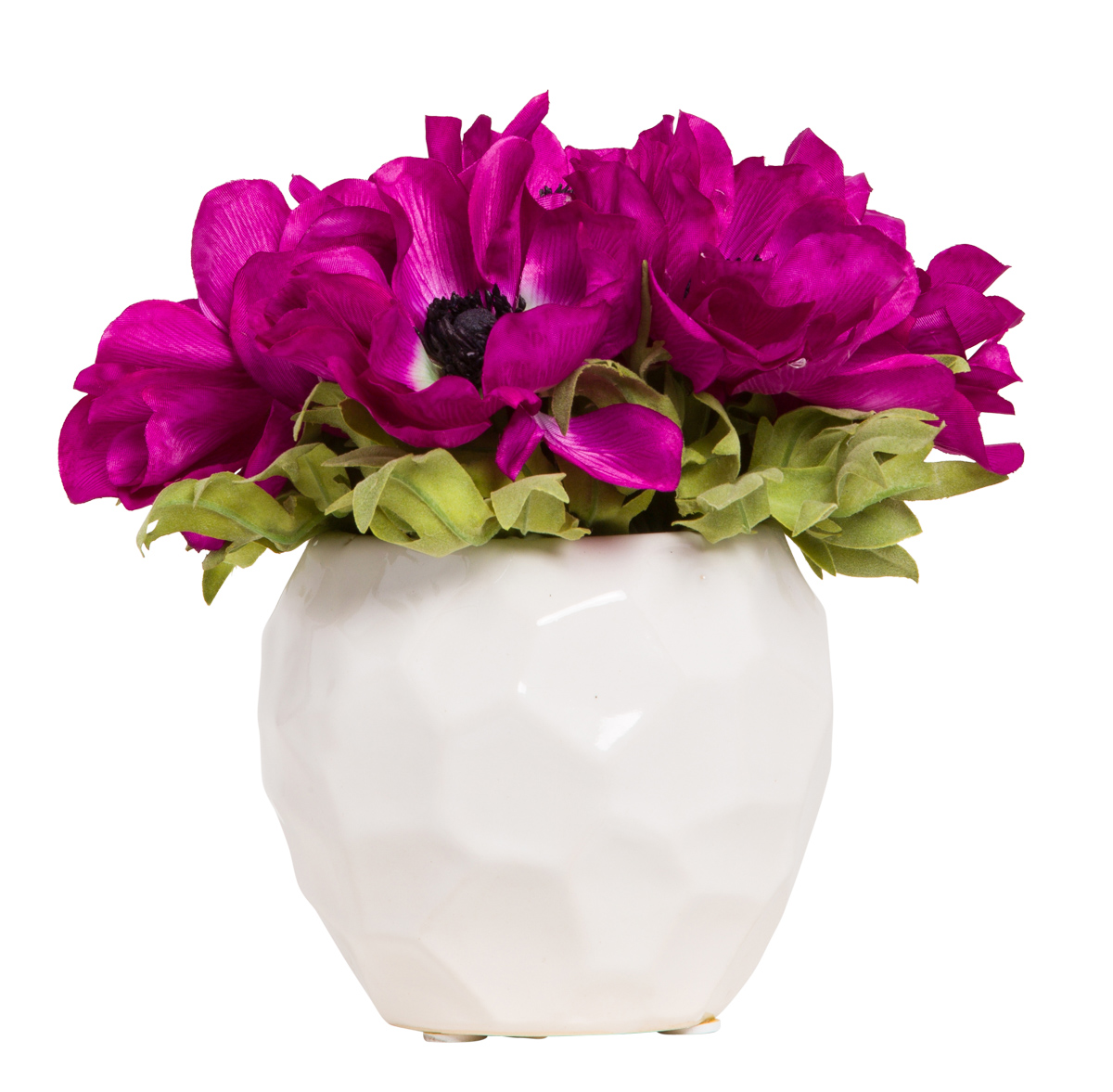 FUCHSIA ANEMONE IN WHITE POT