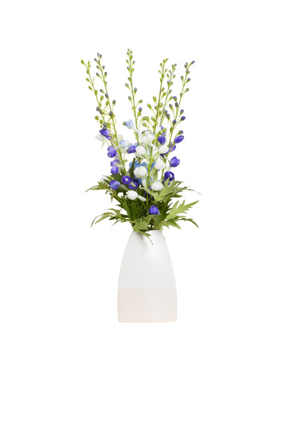ASST DELPHINIUM IN TRIANGLE VASE
