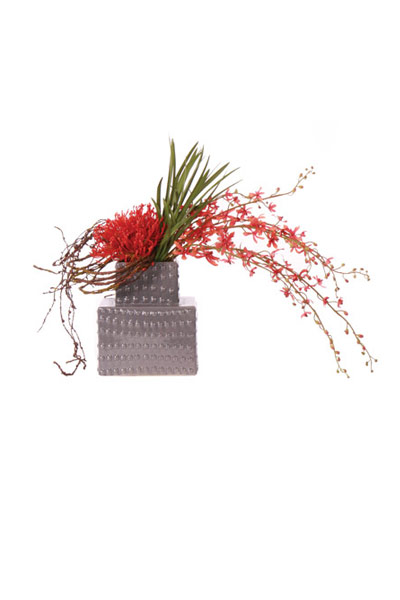 Pin Cushion & Rust Vanda in Grey Tower