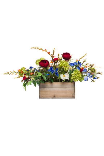 Mixed Flowes in Small Wood Box