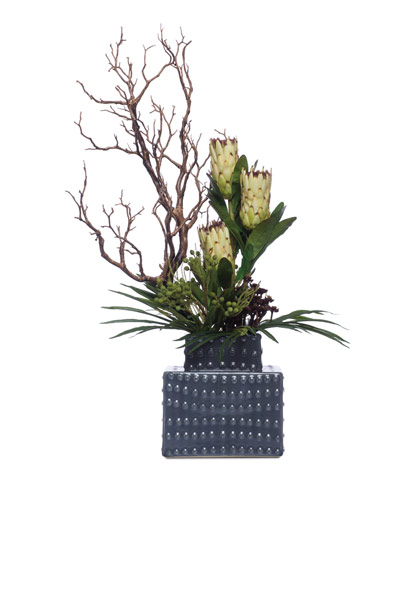 Protea & Manzanita in Grey Tower Vase