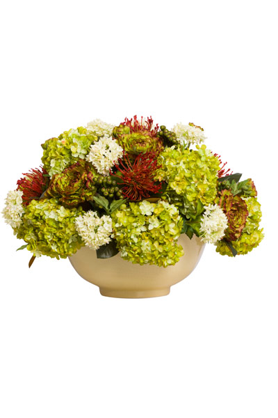 MIXED FLORAL IN MUSTARD BOWL