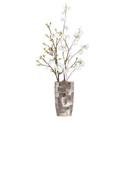 WHITE BLOSSOM BUSH IN SILVER VASE