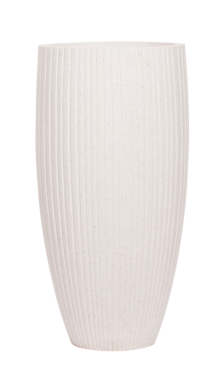 TALL WHITE RIBBED TAPERED POT/ SMALL