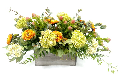 MIXED FLORAL IN WOOD BOX