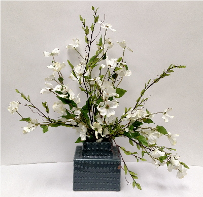WHITE DOGWOOD IN GREY TOWER VASE