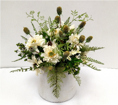 CREAM DAISY/THISTLE IN STONE POT