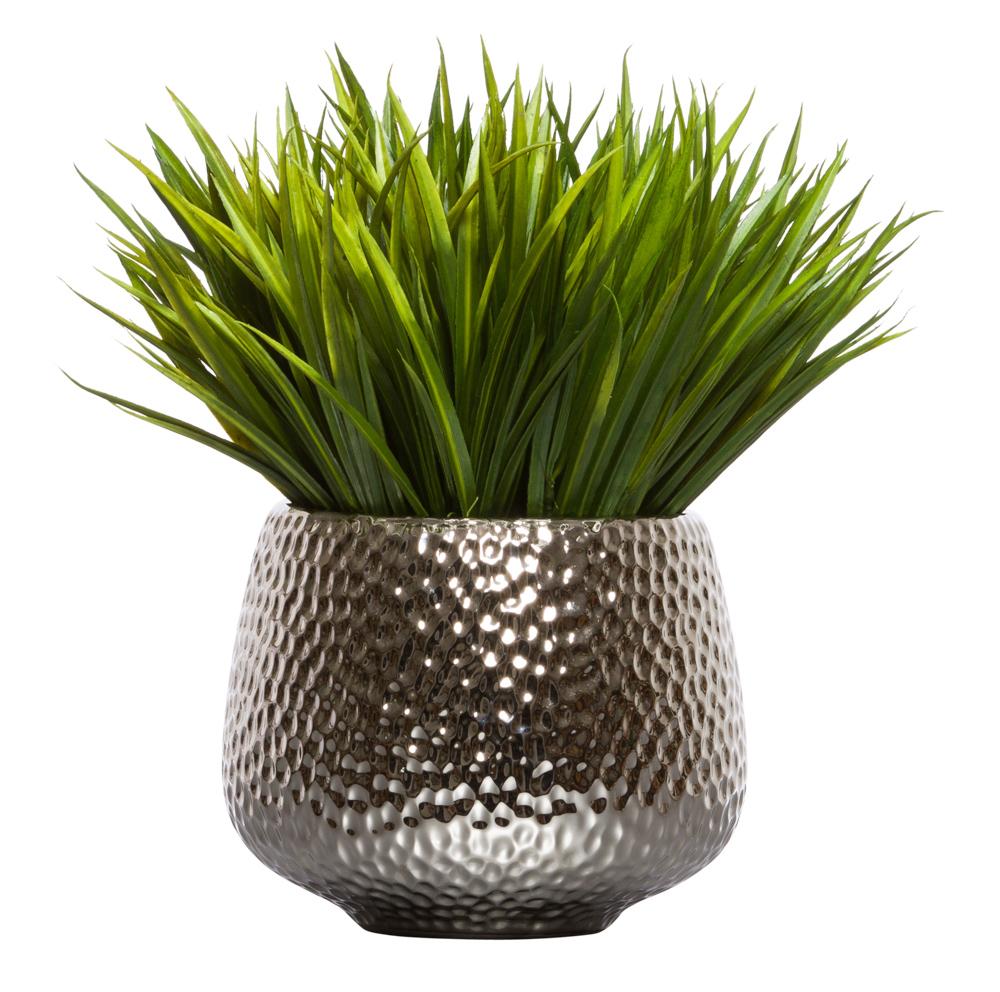 Grass In Large Silver Pot Lux Art Silks