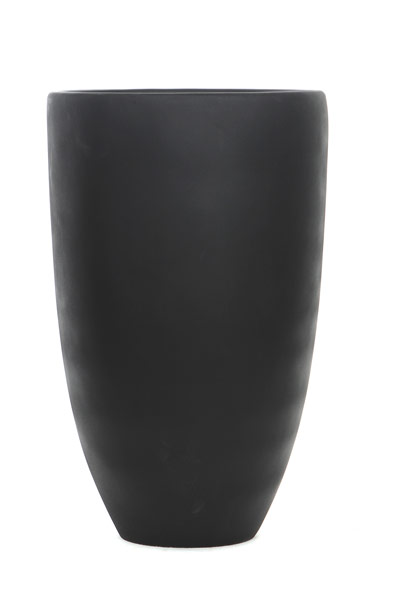 TALL BLACK ROUND TAPERED POT