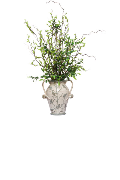 **Willow & Greens in Small Bird Vase