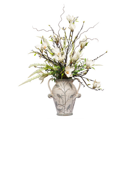 ** Magnolia Fream Spray in Small Bird Vase