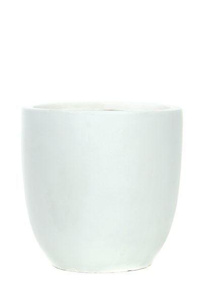 ROUND TAPERED RESIN POT-WHITE