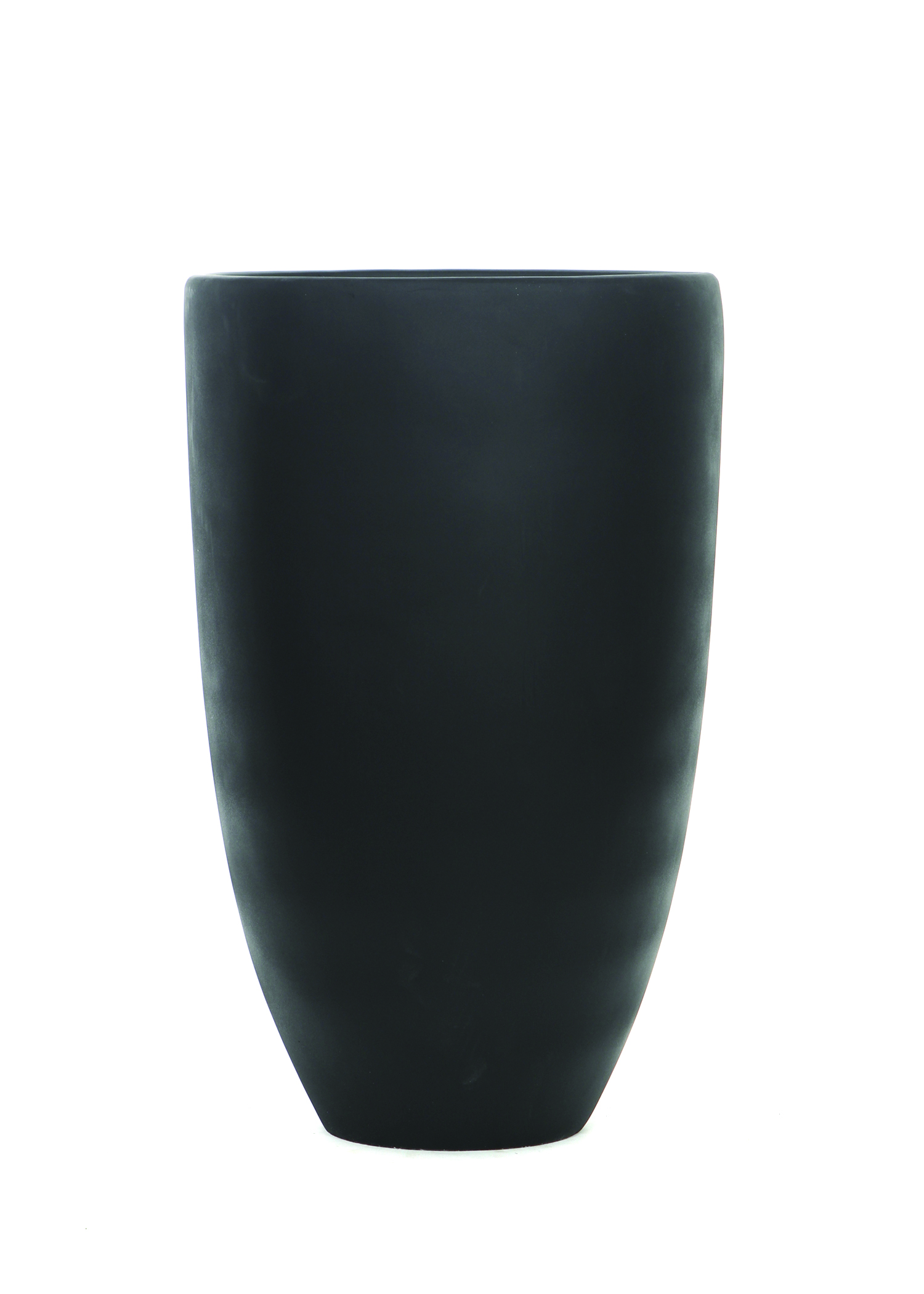 TALL BLACK ROUND TAPERED RESIN POT