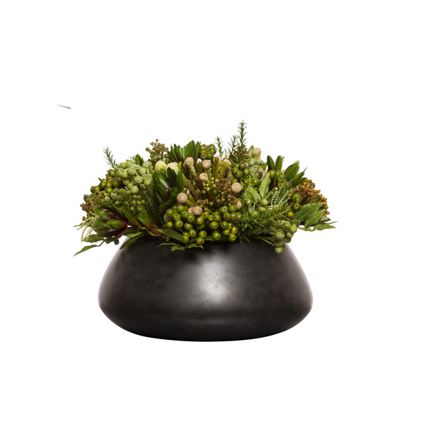 MIXED PROTEA/SEDUM IN BLACK BOWL