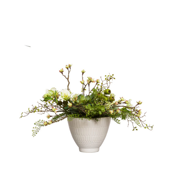 BUDDING BLOSSOM/FERN IN SMALL WHITE BOWL