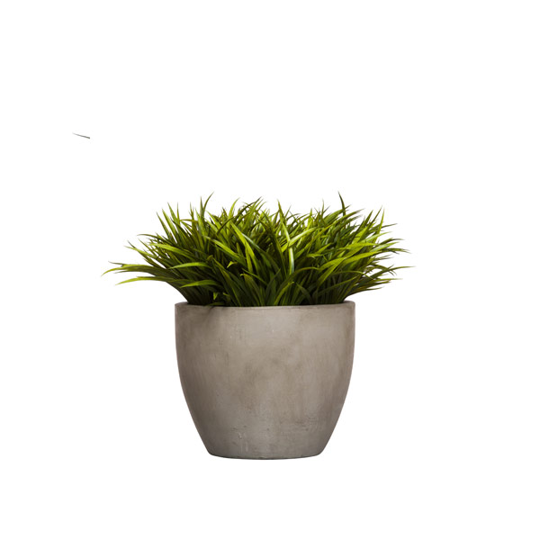 GRASS IN GREY NEWPORT POT