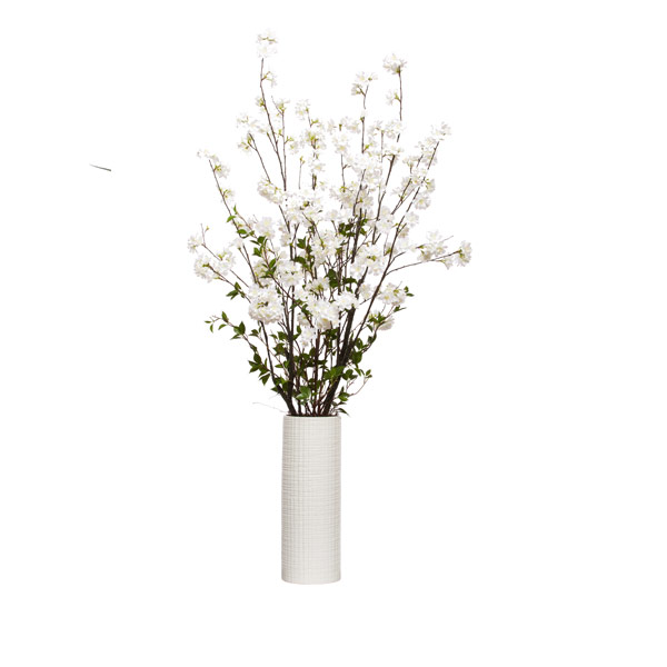 WHITE BLOSSOM BRANCH IN TALL CYLINDER