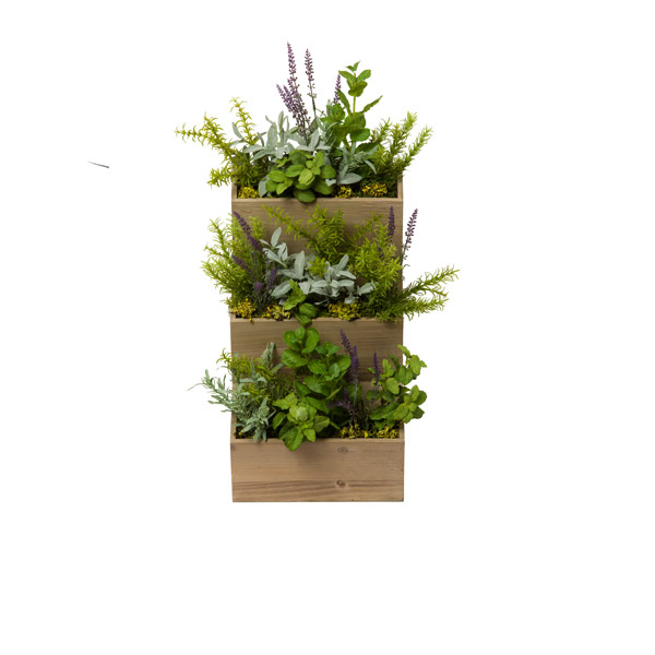 MIXED HERBS IN HANGING WOOD PLANTER
