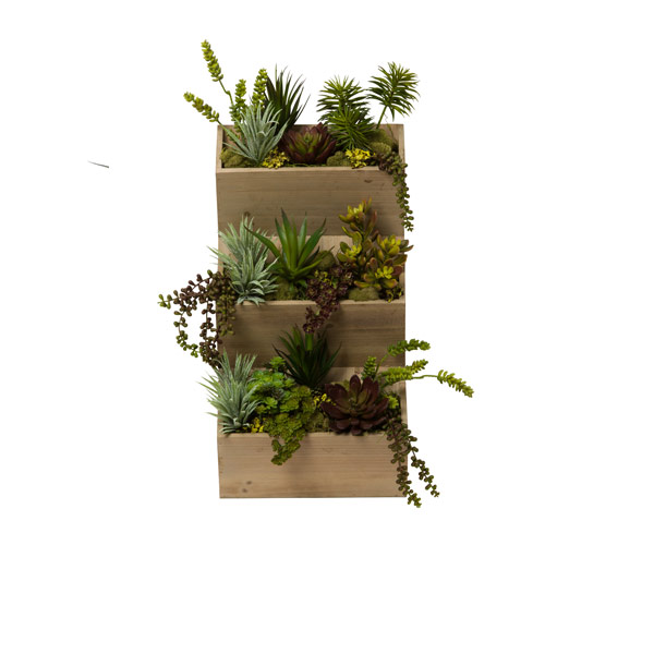MIXED SUCCULENTS IN HANGING WOOD PLANTER