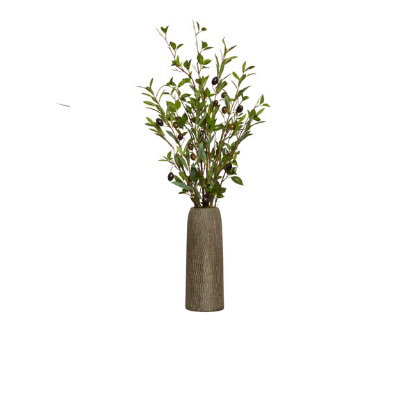 OLIVE/BIRCH IN TALL BROWN TEXTURED VASE