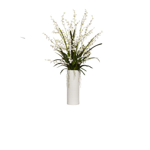WHITE ONCIDIUM IN TALL WHITE CYLINDER