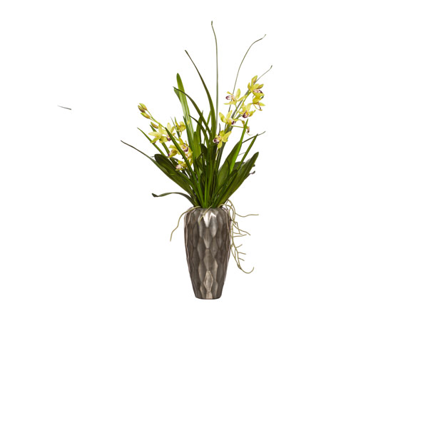 GREEN CYMBIDIUM IN TALL SILVER VASE