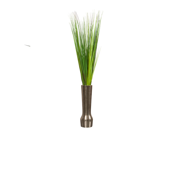 GRASS IN TALL SILVER VASE