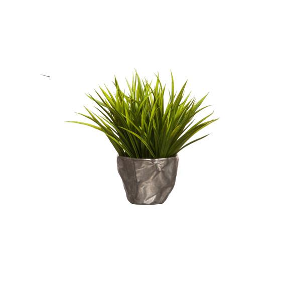 GRASS IN SMALL SILVER PLANTER
