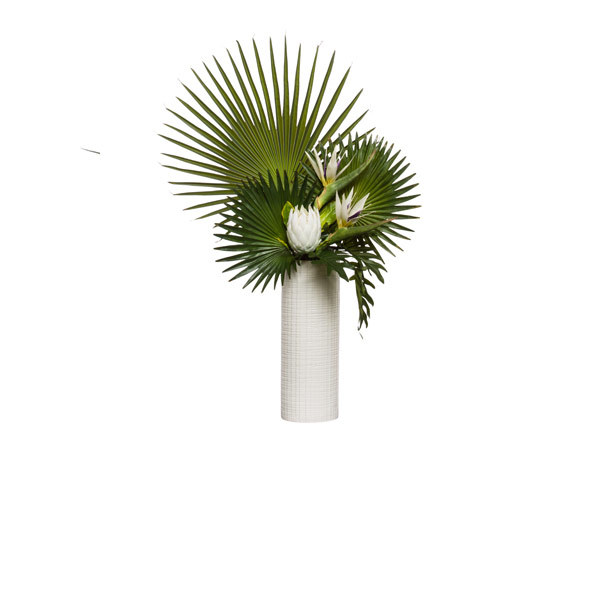 PROTEA/FAN PALM IN TALL WHITE CYLINDER