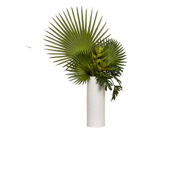 BIRD OF PARADISE/FAN PALM IN TALL WHITE CYLINDER