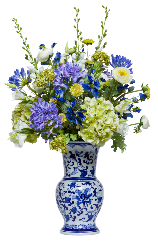 ASSORTED FLOWERS IN BLUE/WHITE URN