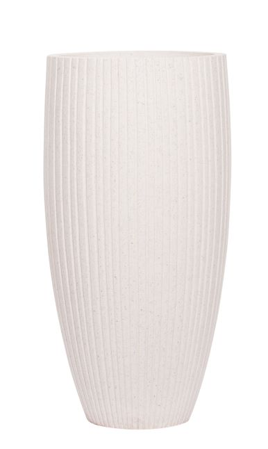 EXTRA LARGE TALL WHITE RIBBED TAPERED POT