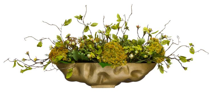 YELLOW/GREEN CENTERPIECE IN SMALL GOLD OVAL