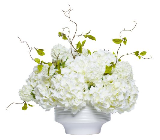 WHITE HYDRANGEA CENTERPIECE IN WHITE BOWL