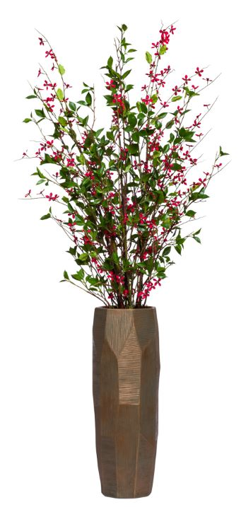 RED MEADOW BLOSSOM IN LARGE TALL BRONZE VASE