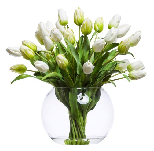 WHITE TULIP IN LARGE BUBBLE BOWL WATER LIKE